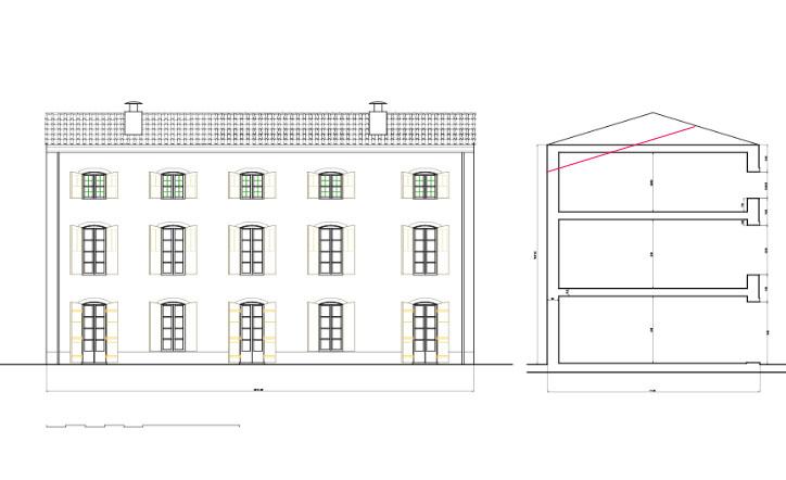 Villa AB  facade coupe