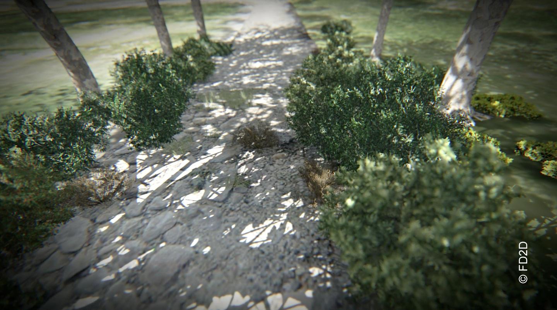 Une longue allée ombragée de platanes traverse la campagne