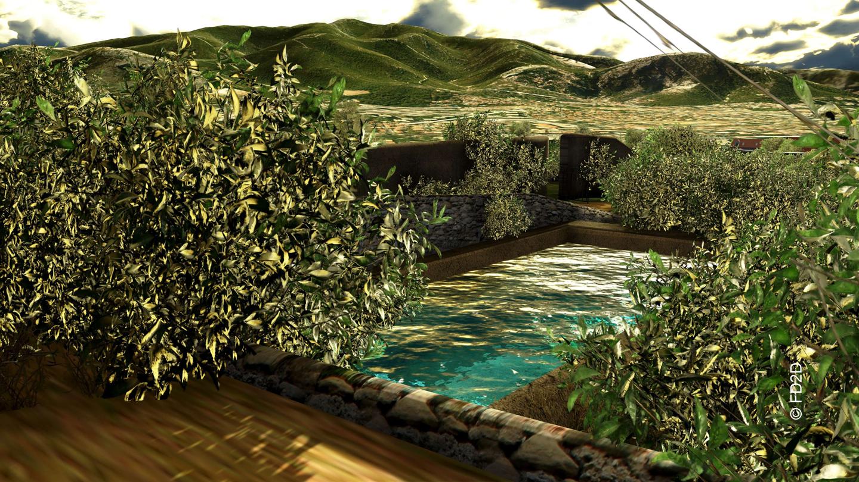 L'eau du bassin réservoir arrose les cultures maraichères
