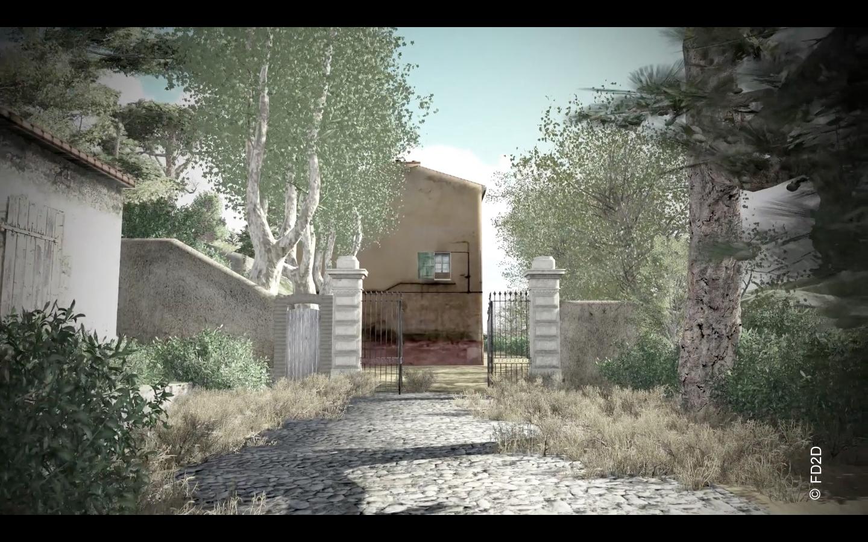 L'arrivée du chemin des cèdres, à gauche la petite écurie, image virtuelle source FD2D
