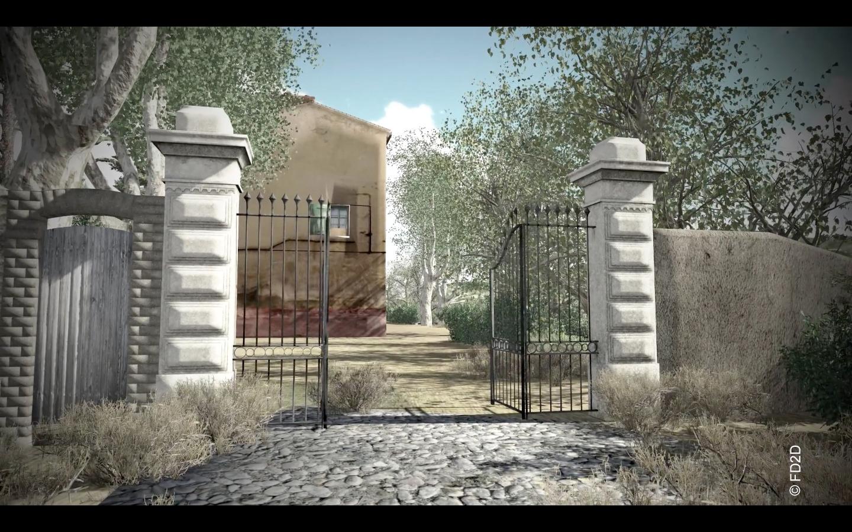 Le portail, la Villa et l'alignement de platanes, image virtuelle source FD2D