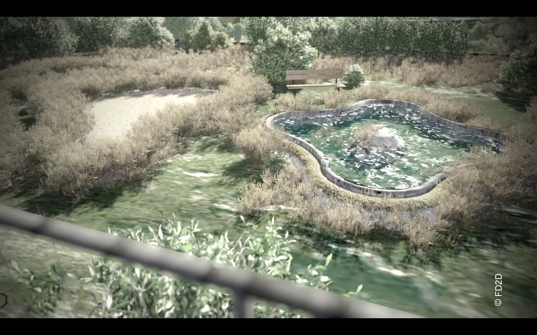 Le jardin à la française et le bassin d'agrément depuis le belvédère, image virtuelle source FD2D