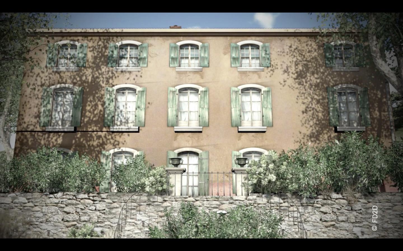 La façade sud vue depuis le jardin à la française, image virtuelle source FD2D